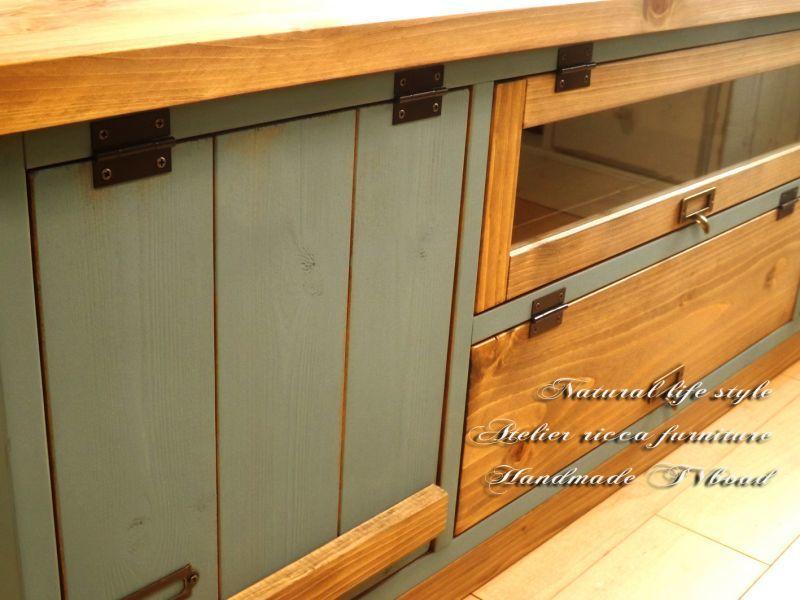 画像3: アンティーク風なブルーグレイのTVボード W120